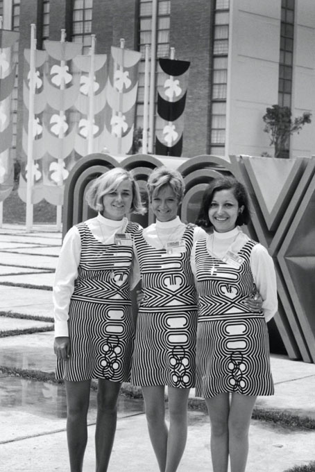Mexico 1968 OG, Olympic Village - Volunteers wearing OG dresses.